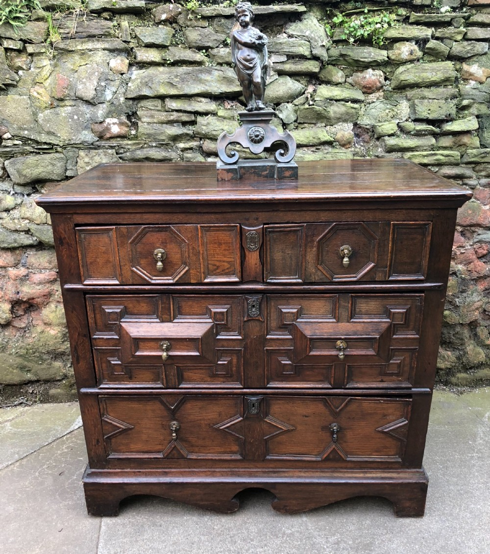 c17th oak block fronted chest of drawers