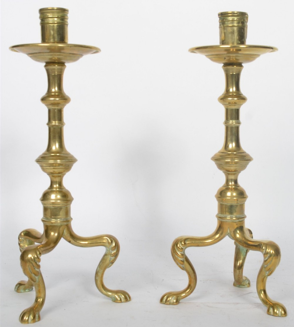 early c19th pair of brass candlesticks