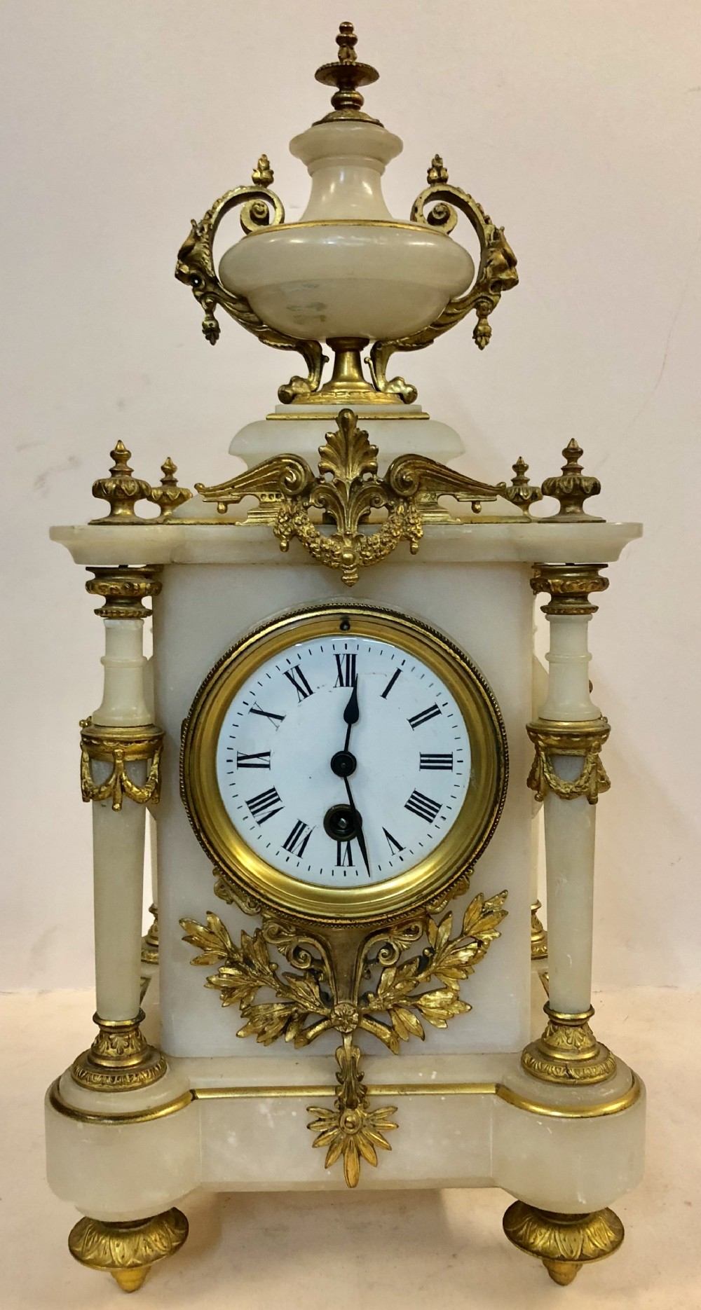 c19th french alabaster and ormolu mantle clock