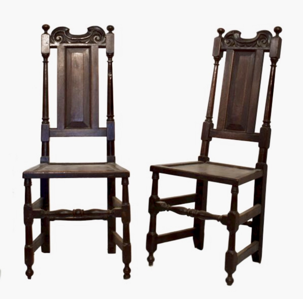 pair of latec17th oak side chairs