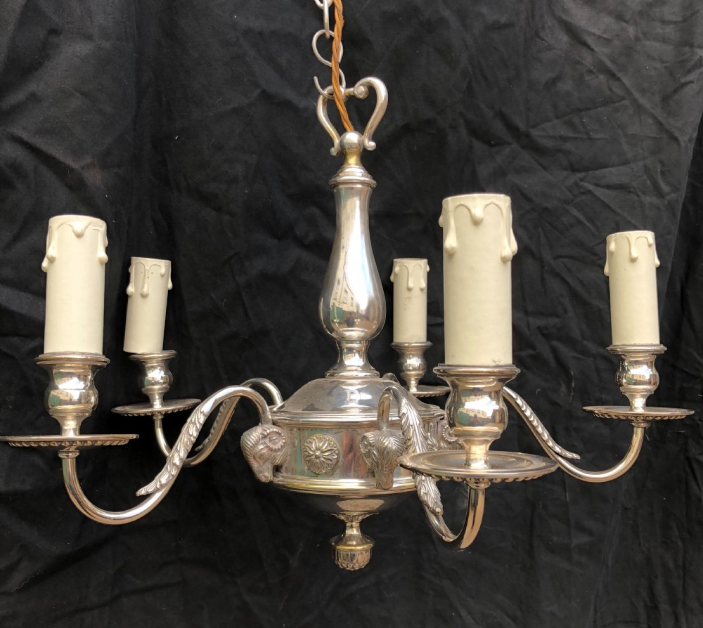 edwardian silver plated ceiling light and four matching wall lights