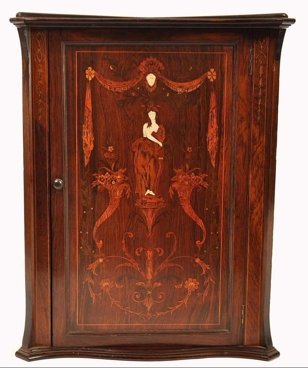 c19th rosewood marquetry and bone inlaid corner cabinet