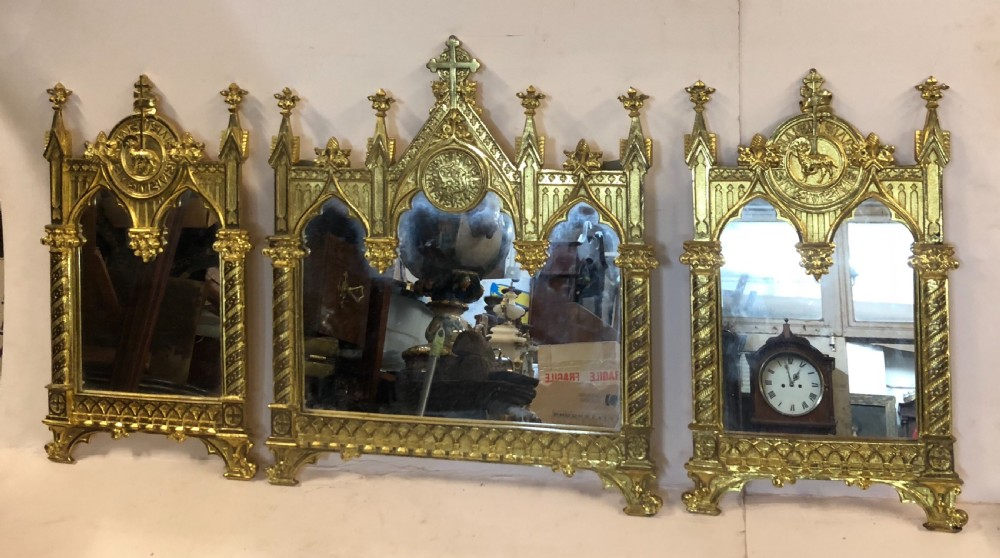 c19th gothic mirror triptych in gilded bronze