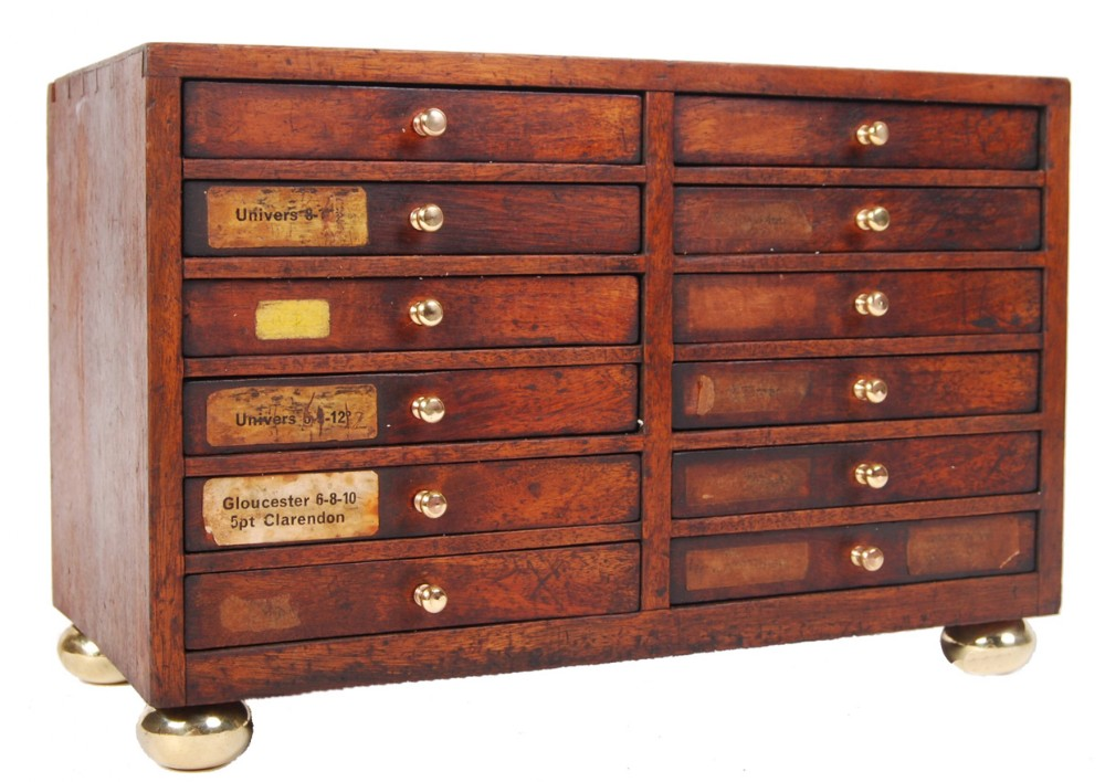 c19th small tabletop printers chest