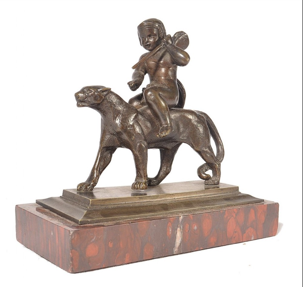 a grand tour bronze set on rouge marble base