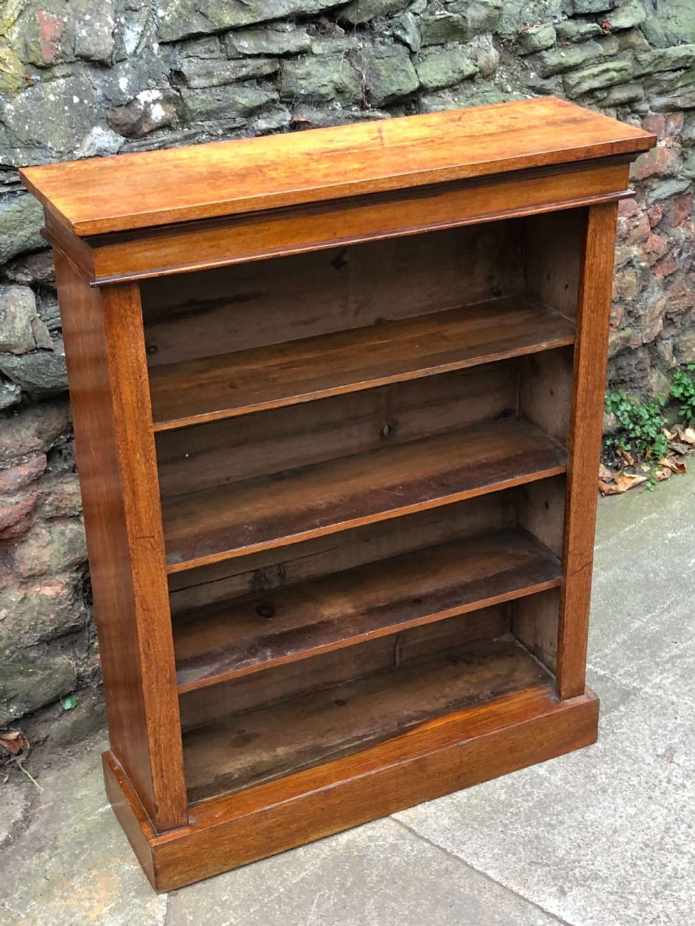 small walnut veneered open bookcase with adjustable shelves