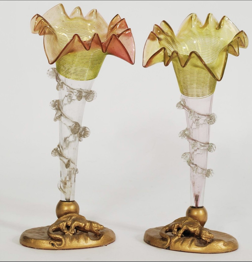 a pair of glass epergne centre pieces