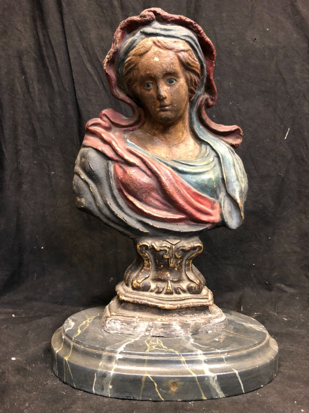 polychrome bust of the virgin mary made in papiermch