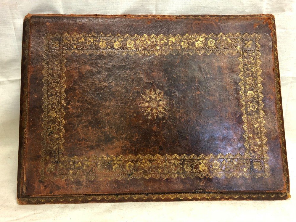 c19th tooled leather desktop blotter
