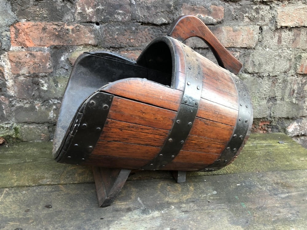 c19th coal scuttle made from a wooden barrel