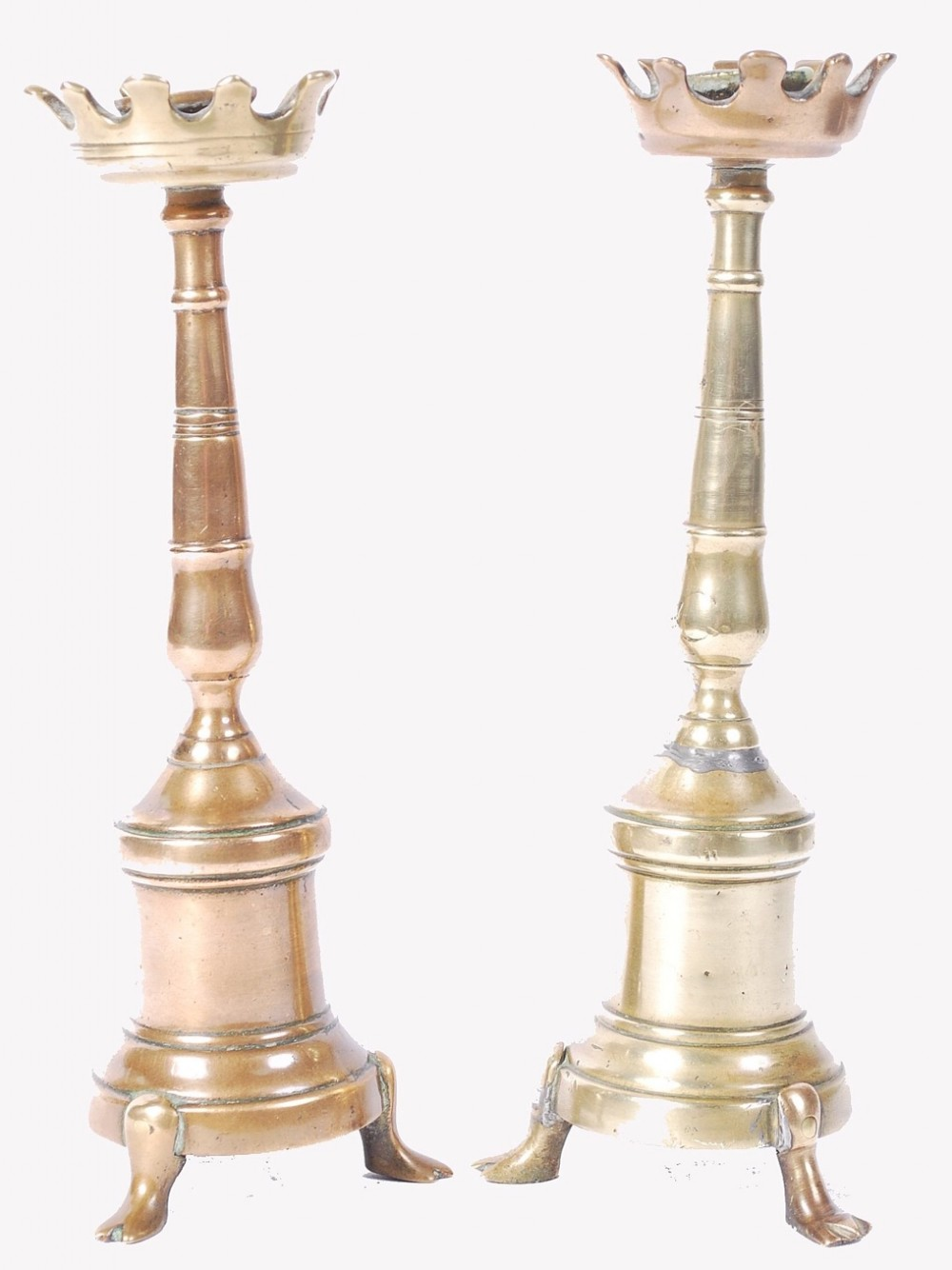 c17th pair of small brass candlesticks