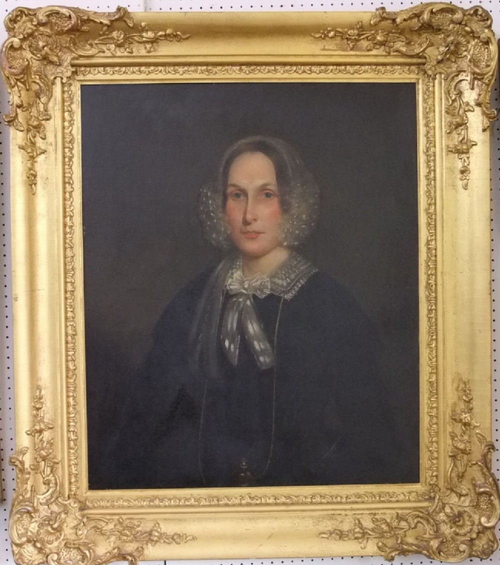 c19th oil on canvas unsigned of a lady