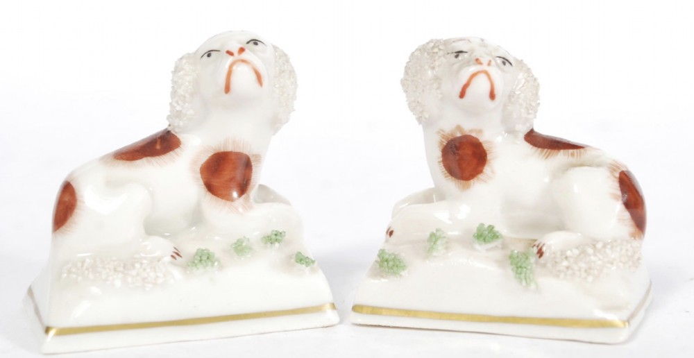 pair of chelsea porcelain miniature dogs