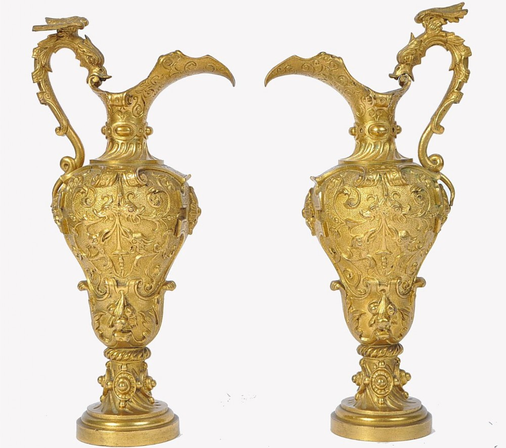 c19th pair of ormolu classical water ewers of classical form