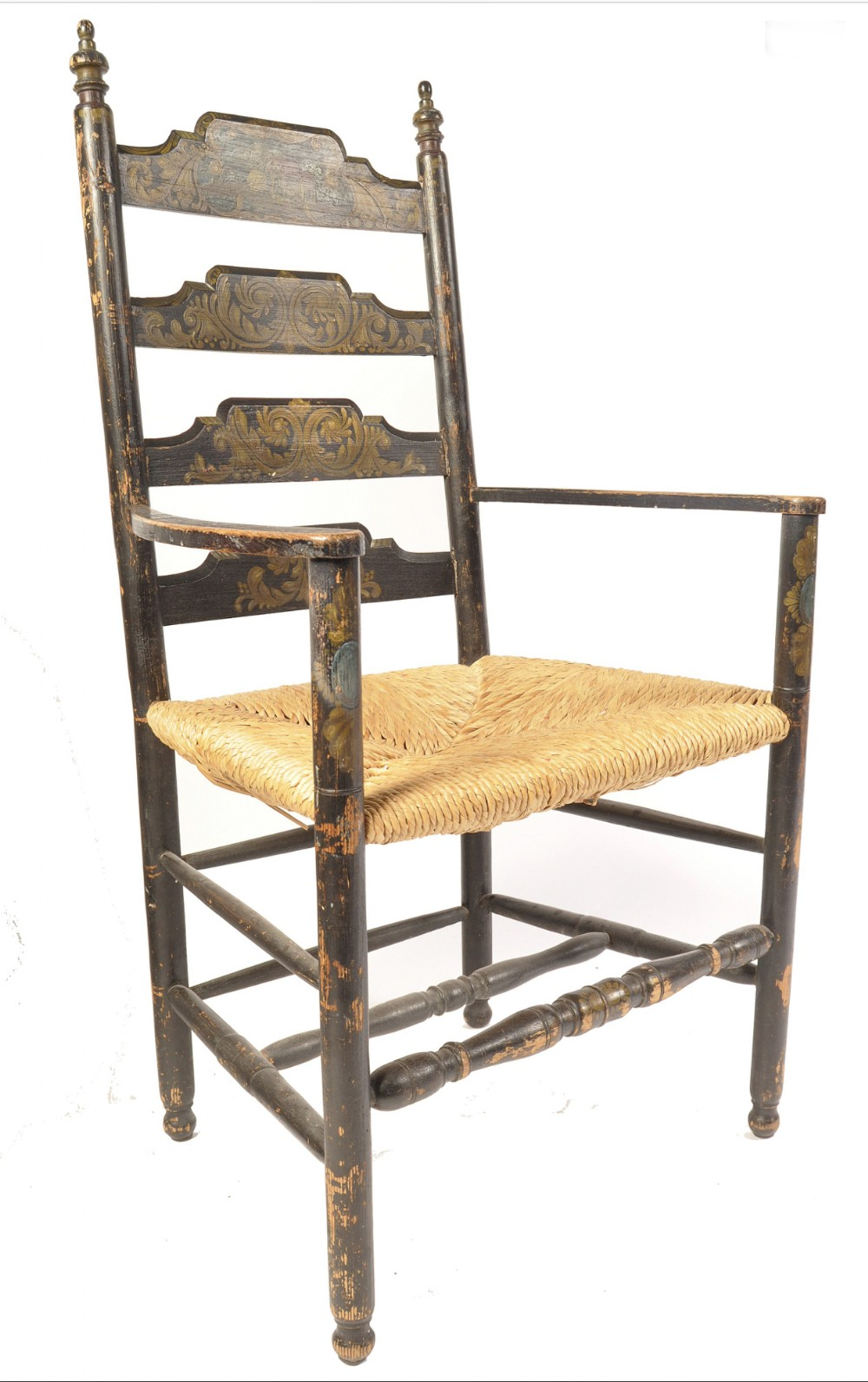 c19th american painted ladder back chair