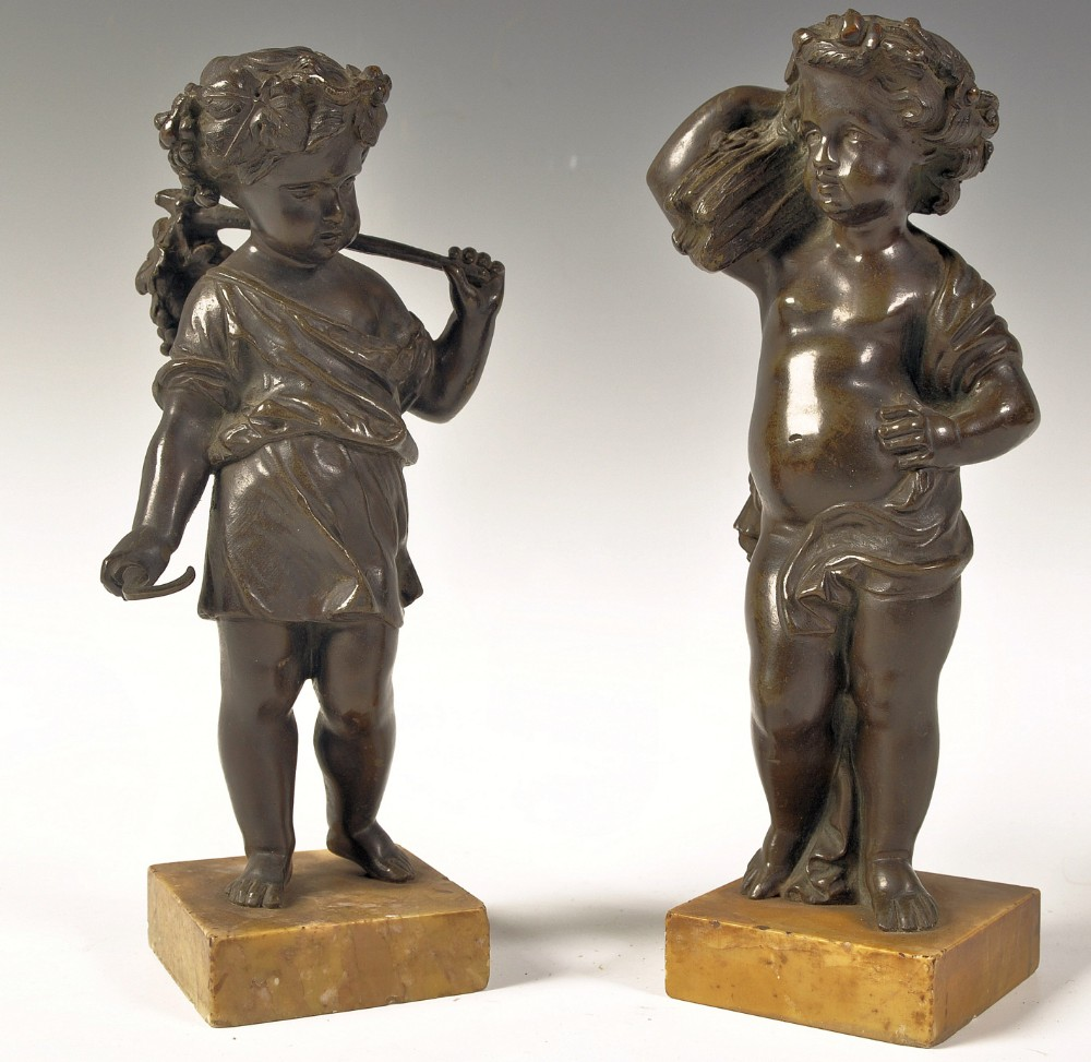 pair of bronze figures on sienna marble bases