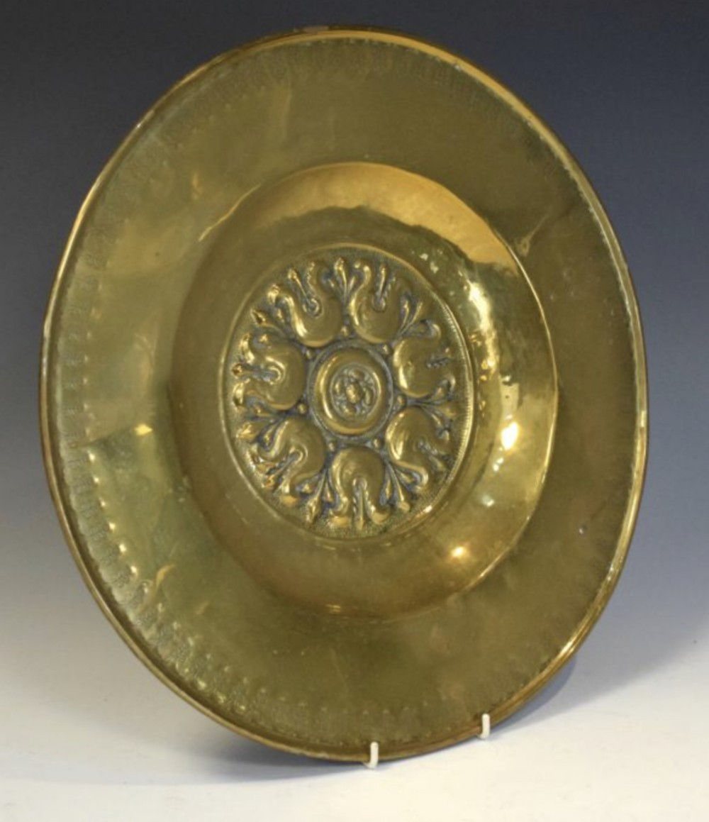 c17th alms dish in brass