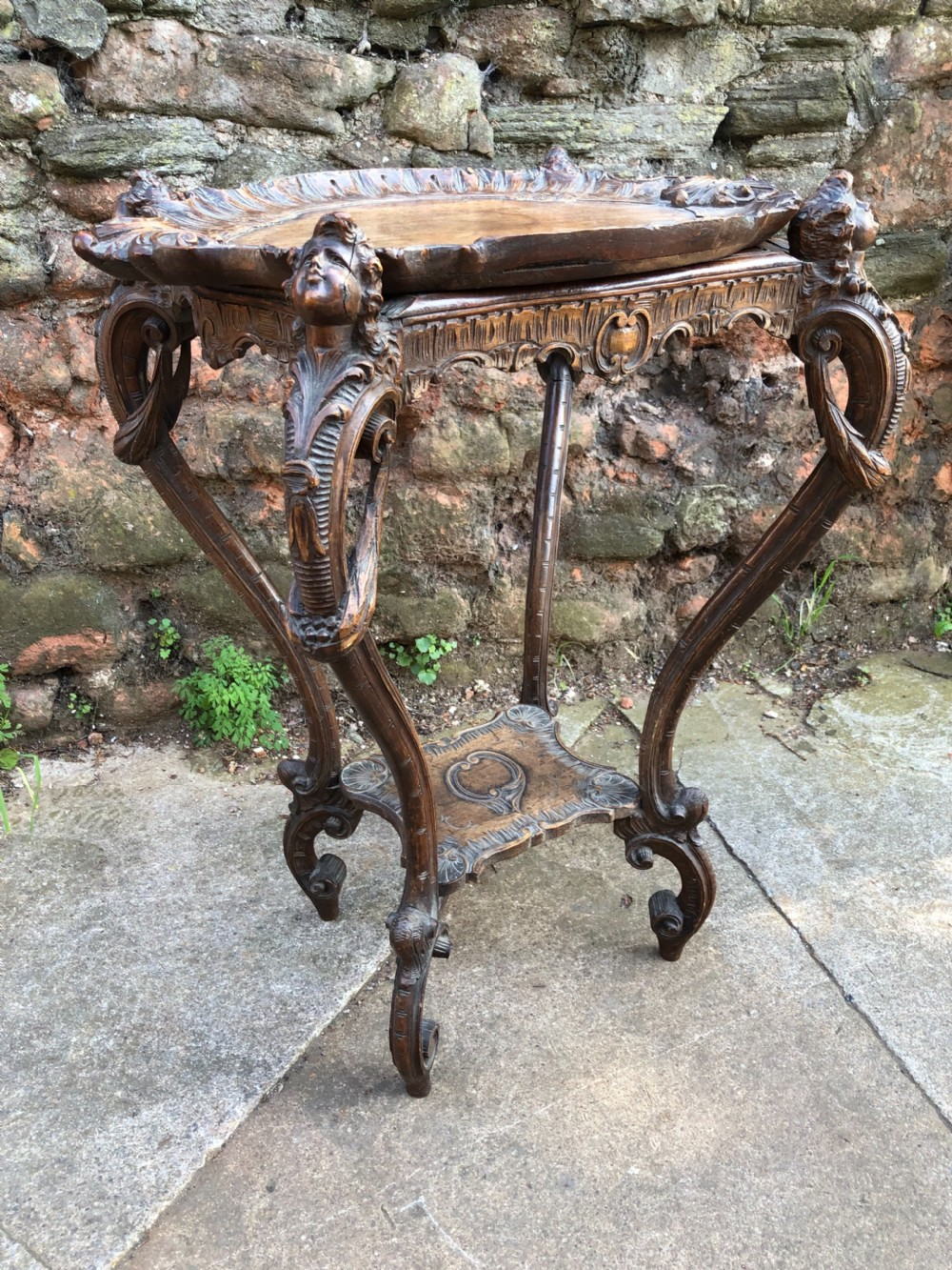 c19th walnut italian carved side table