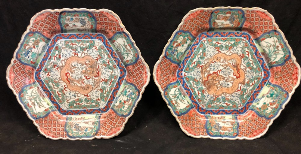 c19th pair of japanese imari plates of hexagon form
