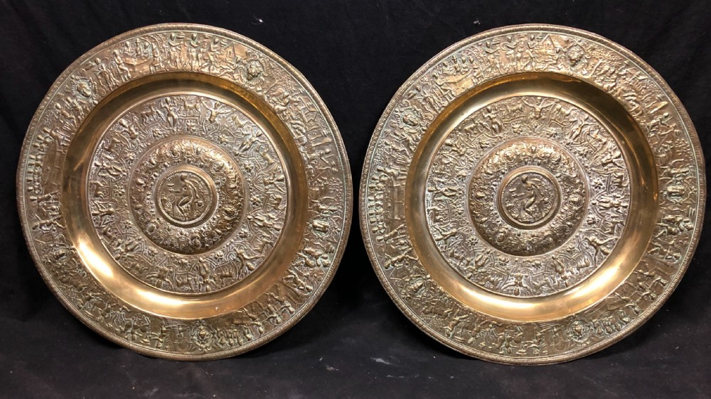 pair of bronze chargers of the temperantia dish or the rosewater dish used as the wimbledon womans tennis trophy
