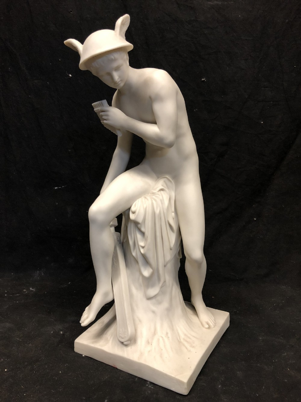 c19th minton parian large figure of hermes