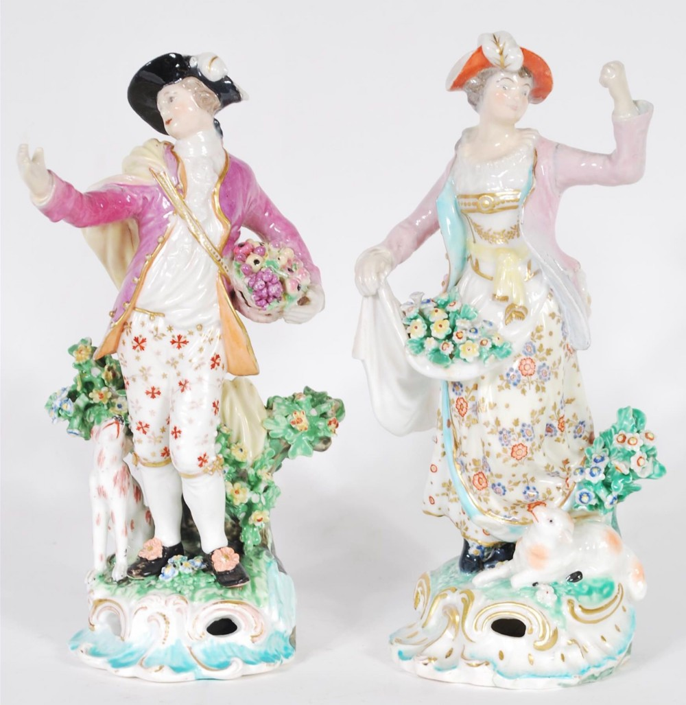 pair of c19th figures in the manner of bow chelsea