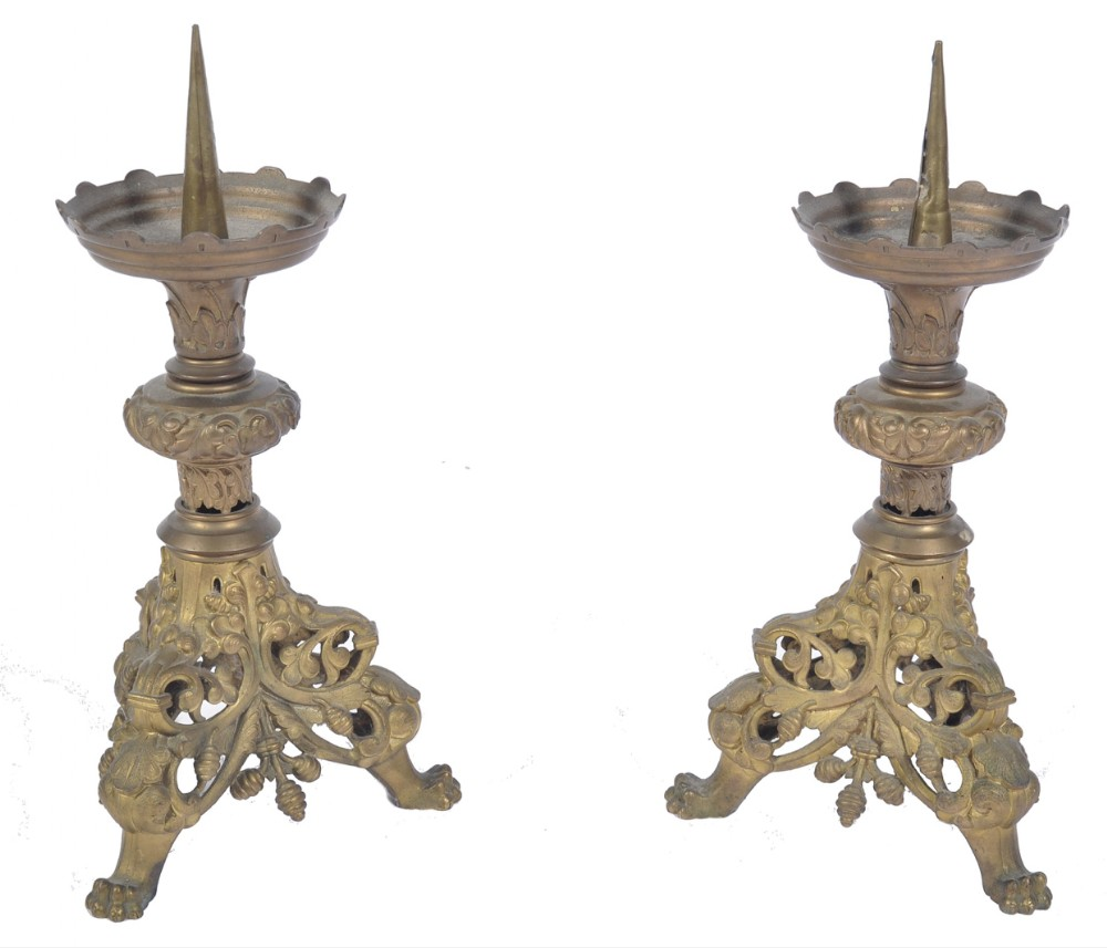 a pair of cast brass altar pricked sticks