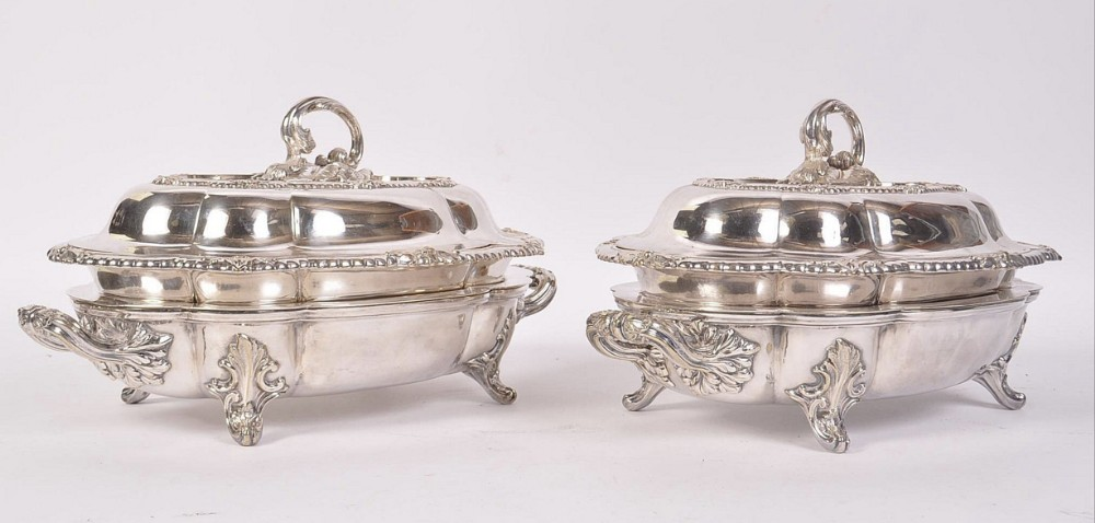 pair of silver plated tureens and warmers