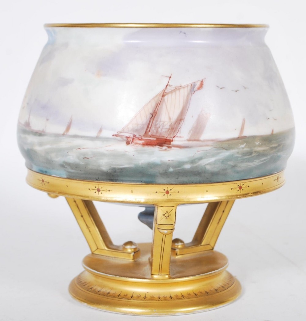 c19th mintons footed urn painted by james edwin dean and designed by christopher dresser