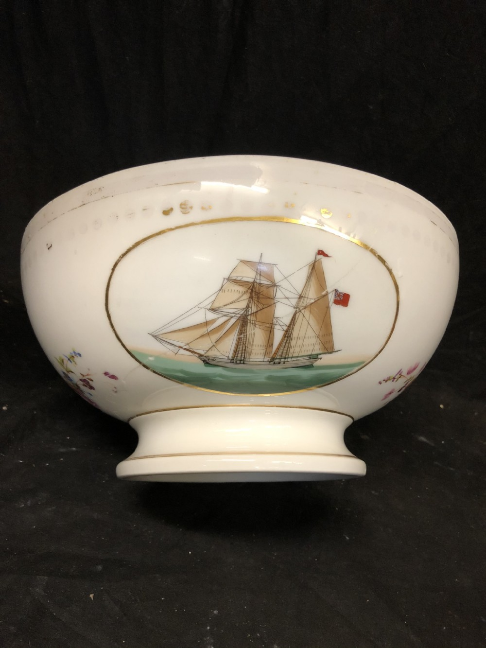 rare early c19th english punchbowl depicting east indiamens in full sail