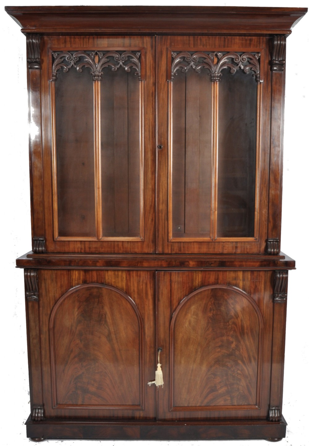 c19th large library bookcase cabinet