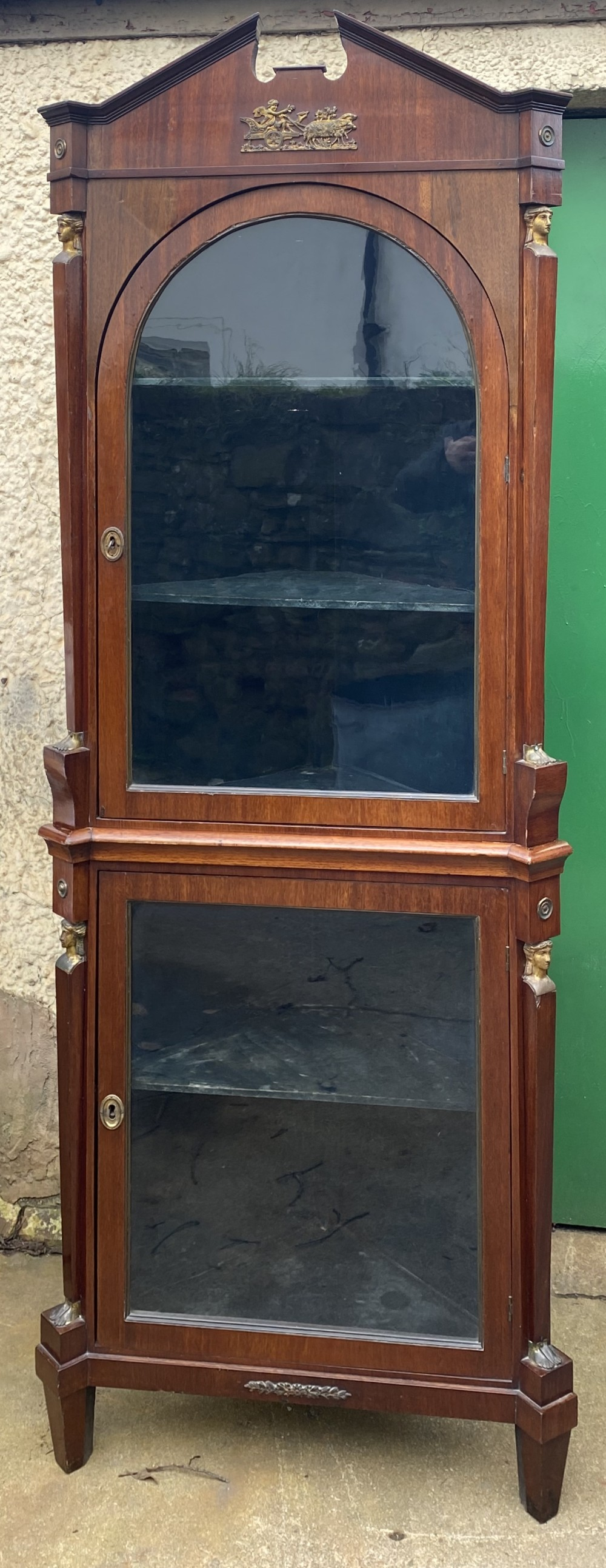c19th double height corner cupboard with glazed doors
