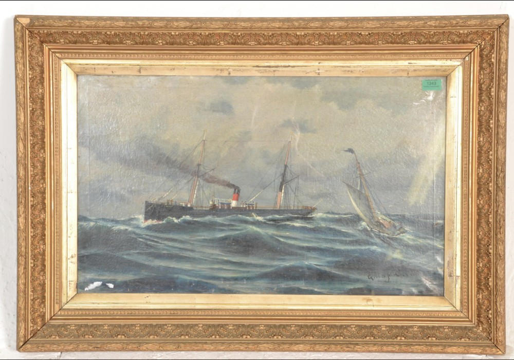 a large c19th oil on canvass of a steamer ship