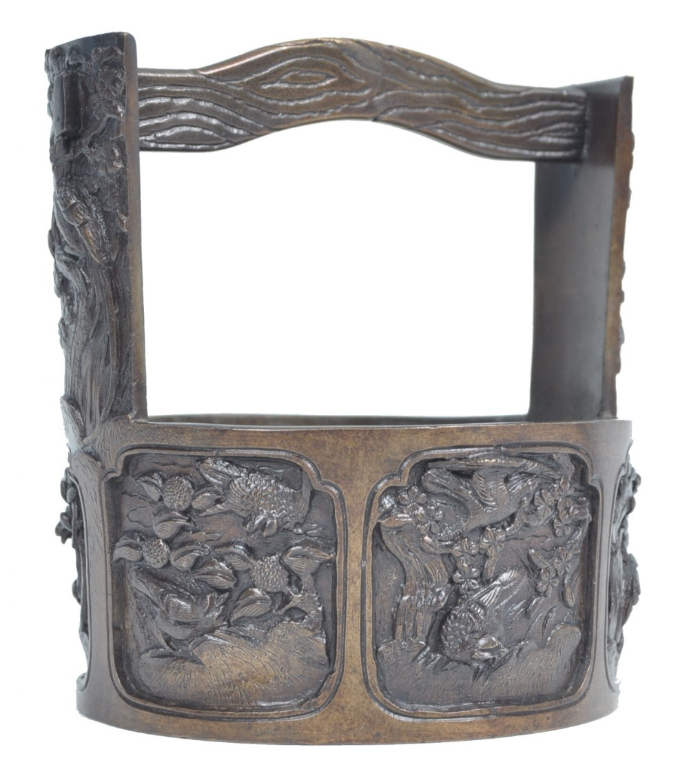 c19th meiji period bronze well shaped planter